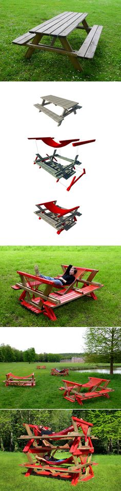 Use instructions for folding picnic table below but add this hammock as a removable bonus feature. It has to be removable so the hammock isn't laying on the ground when using it as a table or bench Outdoor Projects, Wood Projects, Woodworking Projects, Projects To Try, Wood Crafts, Diy And Crafts, The Great Outdoors, Outdoor Gardens, Diy Furniture
