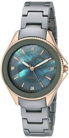 Women  Watches - Anne Klein Womens AK2390RGGY DiamondAccented Rose GoldTone and Grey Ceramic Bracelet Watch * Be sure to check out this awesome product. (This is an Amazon affiliate link)