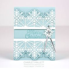 Sketch - Snowflake Sentiments - Charlet Mallett - Stampin Up! Diy Christmas Snowflakes, Stamped Christmas Cards, Snowflake Cards, Christmas Paper Crafts, Homemade Christmas Cards, Christmas Cards To Make, Xmas Cards, Homemade Cards, Holiday Cards