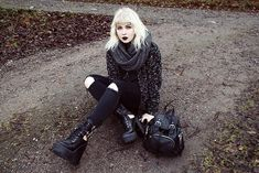 Get this look: http://lb.nu/look/7899042  More looks by Thelma Malna: http://lb.nu/thelma  Items in this look:  Diy Scraf, Cardigan, Public Desire Boots   #edgy #gothic #grunge