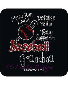Baseball grandma iron on rhinestone heat transfer - DIY rhinestone transfer - baseball sports appliqué for mom grandma sister on Etsy, $9.99