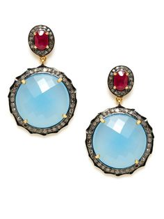 Blue Chalcedony Scalloped Disc Drop Earrings by Amrapali on Gilt.com