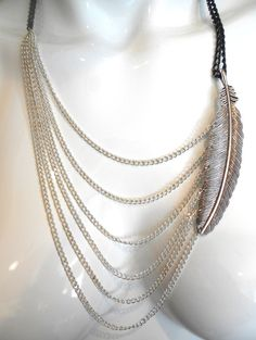 Antiqued Silver Feather Multi Chain Bib Necklace by VitalMadness, $27.00