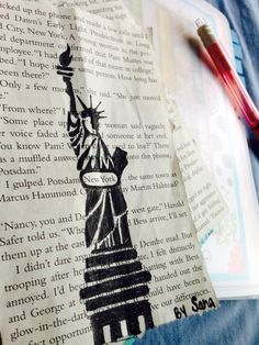 New York ~ by sana ahmed  the statue of liberty done on a page of Nancy Drew book ;P