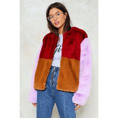 Nasty Gal Going Through a Soft Patch Faux Fur Coat (1.900.220 IDR) ❤ liked on Polyvore featuring outerwear, coats, lilac, imitation fur coats, fake fur coat, faux fur coat, patchwork coat and nasty gal