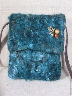 Купить Сумка валяная Три орешка для золушки - тёмно-синий, сумка валяная, авторская сумка