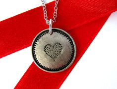 Heart Necklace Charm Repurposed Button Pendant Eco by Hendywood, $20.00