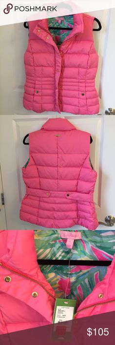 NWT Isabelle vest Brand new with tags Lilly Pulitzer Isabelle vest in flamingo pink. The lining is the pattern Tropical Storm. The is a small not very noticeable mark on the lining (it came like that), shown in the picture. Lilly Pulitzer Jackets & Coats Vests