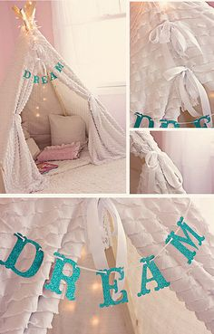 I'm a little obsessed with the teepee/tent idea lol. Ideas Habitaciones, Diy Tent, Diy Teepee, Ideias Diy, Little Girl Rooms, Kid Spaces, My New Room, Girls Bedroom, Diy For Kids