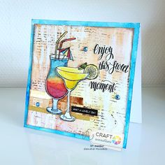 Mixed Media Cards, Scrapbooking, Diy Cards, Washi, Stencil, Diy And Crafts, Cocktails, In This Moment, Crafty
