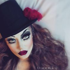 """""""This is my Creepy Top Hat look  , this kind ofannoying personality it's so me LOL   Any way , I used: -Ultra Foundation in WHITE by @kryolanofficial…"""""""