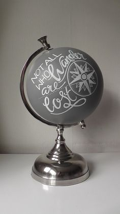 """This beautiful hand painted small globe ornament will add a lovely touch to any home. Great gift ideas for those who love to travel, adventures or like me share a touch of Wanderlust. Globe is painted with the hand painted phrase """"Never stop exploring"""" Globe Projects, Globe Crafts, Diy Projects, Globe Art, Map Globe, Globe Decor, Diy Interior, Painted Globe, Hand Painted"""
