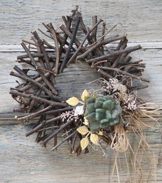 "8 Rustic DIY Twig Christmas Crafts - - I bet the busiest time of year for craft stores is the holiday season. There are so many amazing projects to try, and when you've got Christmas crafts on your holiday ""to do"" list, you're. Twig Crafts, Wreath Crafts, Craft Stick Crafts, Rustic Crafts, Wreath Ideas, Primitive Fall Crafts, Holiday Crafts, Christmas Wreaths, Christmas Crafts"