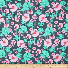 Amy Butler Glow Wind Flower Berry from @fabricdotcom  Designed by Amy Butler for Rowan Fabrics, this cotton print is perfect for quilting, apparel and home decor accents. Colors include turquoise, orchid, and orange on a deep steel blue background.