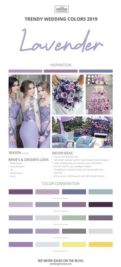 Trendy Wedding Colors 2019 ★ See more: www.weddingforwar… Trendy Wedding Colors 2019 ★ See more: www. Wedding Trends, Trendy Wedding, Perfect Wedding, Dream Wedding, Wedding Day, Wedding Venues, Lavender Color Dress, Lavender Wedding Colors, Wedding Flowers