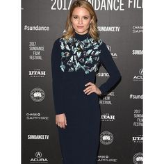 Dianna Agron wears a Prada cady dress embroidered with plexiglass, Bakelite, and crystal, and Prada patent leather sandals to the premiere of #Novitiate at the 2017 #Sundance Film Festival in Park City, Utah.  via ✨ @padgram ✨(http://dl.padgram.com)