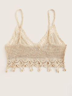 Hollow Out Crochet Crop Cami Top Crochet Summer Tops, Crochet Bikini Top, Summer Knitting, Crochet Blouse, Love Crochet, Knit Crochet, Crochet Designs, Crochet Patterns, Baby Cardigan Knitting Pattern