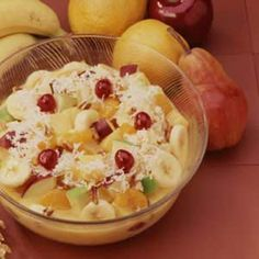 super easy and yummy fruit salad- get instant pudding and don't bother with the cooking part