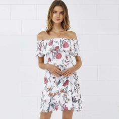 a3a5819236 White Floral Print Off the Shoulder Ruffle Mini Chiffon Dress 2017 Summer  Short Sleeve Tied Waist Backless Casual Beach Wear