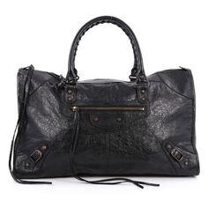 Pre-Owned Work Classic Studs Handbag Leather (3,470 SAR) ❤ liked on Polyvore featuring bags, handbags, black, leather man bags, balenciaga handbags, travel handbags, hand bags and studded leather handbags