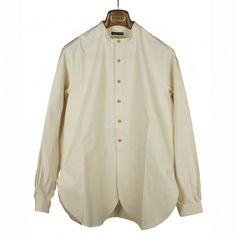 Stiff cotton collarless vintage bed linen shirt with scalloped hem | No Man Walks Alone