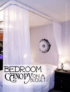 Turn your bedroom into a magical retreat with our simple and inexpensive DIY bed canopy. We used PVC pipe, wood strips and $5 sheers. Download our free instructions!
