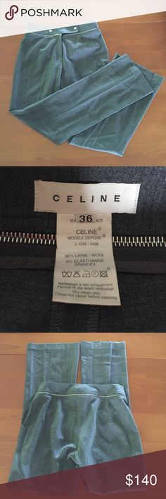 """Celine Wool Pants Made in France.  Gorgeous!  Barely worn.  Inseam 29"""".  Leg opening 9.5"""" Celine Pants Trousers"""