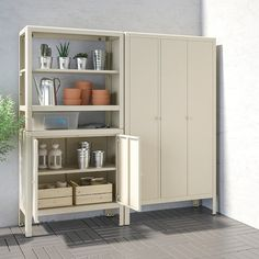 KOLBJÖRN Shelving unit with 2 cabinets, beige. Also stands steady on an uneven floor since the feet can be adjusted. Suitable for both indoor and outdoor use. Outdoor Storage Boxes, Outdoor Shelves, Ikea Storage, Bench With Storage, Kitchen Storage, Tall Cabinet Storage, Locker Storage, Tall Pantry Cabinet, Storage Benches