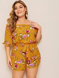 To find out about the Plus Off Shoulder Floral Print Romper at SHEIN, part of our latest Plus Size Jumpsuits ready to shop online today! Curvy Outfits, Chic Outfits, Plus Size Outfits, Fashion Outfits, Fashion Ideas, Plus Size Romper, Plus Size Jumpsuit, Curvy Fashion, Plus Size Fashion