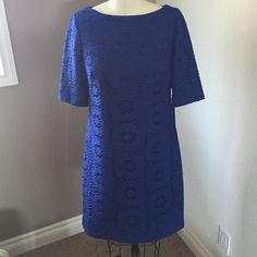 Price cut‼️Blue dress with crotchet overlay. Royal blue Adrianna Papell dress. Beautiful crochet overlay with royal blue lining. Elbow length sleeves and knee length skirt. Never worn! Adrianna Papell Dresses Midi