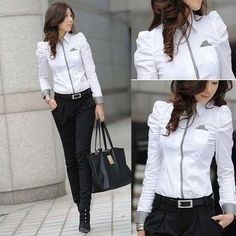 Wholesale Shrug Bubble Lady White Shirt 2014 Office Female Career Tops Size S… Suit Fashion, Work Fashion, New Fashion, Korean Fashion, Womens Fashion, White Shirts Women, Blouses For Women, Chic Outfits, Fashion Outfits