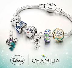 Charm Jewelry Go Under the Sea with The Little Mermaid Chamilia Charm Collection - A beautiful new charm collection is about to become part of your world! The newest Disney Chamilia collection is headed under the sea. Pandora Charms Disney, Disney Pandora Bracelet, Pandora Leather Bracelet, Pandora Bracelets, Pandora Jewelry, Wrap Bracelets, Ankle Bracelets, Disney Princess Jewelry, Disney Jewelry