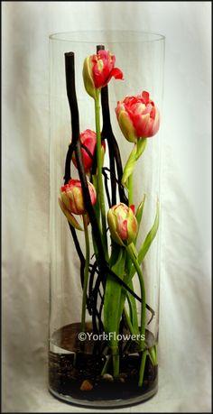 matsumata branches, river rocks, tulips