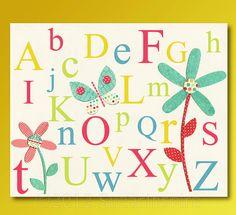 Alphabet Nursery Art Print Kids Room Decor Baby by SugarInspire