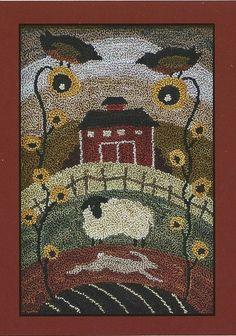 Primitive Folk Art Punchneedle Pattern: COUNTRY LAYERS