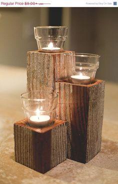 Barnwood Candle Holder by ThreeArrowDesign