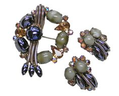 Brooch and Earrings Set Hematite Citrine Rhinestones by VogueVille, $27.00