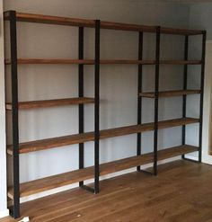 Biblioteca Estantería Repisa Madera Hierro $ X M2 Es-33 - $ 5.900,00 en Mercado Libre Shelf Furniture, Metal Furniture, Home Decor Furniture, Industrial Furniture, Furniture Decor, Furniture Design, Regal Industrial, Living Room Nook, Rustic Shelves