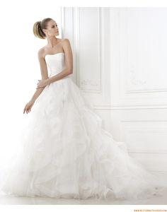 2015 A-linie Trägerlose Exklusive Brautkleider aus Organza mit Schleppe
