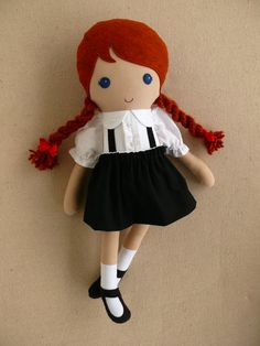 Reserved for marenas Fabric Doll Rag Doll Red by rovingovine