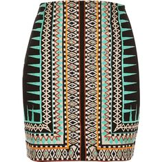 River Island Green embroidered print mini skirt ($130) ❤ liked on Polyvore featuring skirts, mini skirts, green, women, short green skirt, brown mini skirt, short brown skirt, brown bodycon skirt and brown skirt