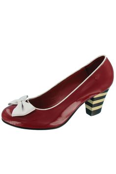 Lola Ramona Elsie Striped Heel Pump with Bow in Red Patent - Beyond the Rack