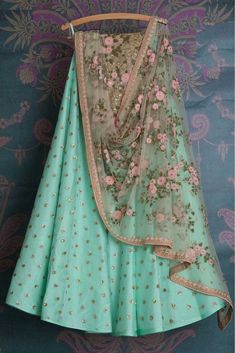 The Stylish And Elegant Lehenga Choli In Sky Blue Colour Looks Stunning And Gorgeous With Trendy And Fashionable Embroidery . The Net Fabric Party Wear Lehenga Choli Looks Extremely Attractive And Can. Blue Lehenga, Net Lehenga, Indian Lehenga, Banarasi Lehenga, Sabyasachi, Indian Wedding Outfits, Indian Outfits, Indian Attire, Indian Wear