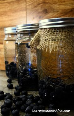 Homemade Blueberry, Moonshine in mason jars. We've posted a great recipe so you can now make your own Blueberry pie moonshine enjoy