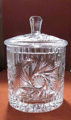 ELEGANT VINTAGE CUT GLASS CRYSTAL BISCUIT/COOKIE JAR w/LID