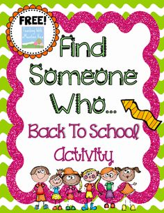"""First+Day+of+School+Cooperative+Learning+""""+Find+Someone+Who+""""+from+Teaching+With+a+Mountain+View+on+TeachersNotebook.com+-++(1+page)++-+FREE+for+Back+to+School!+This+popular+activity+""""Find+Someone+Who...""""+encourages+students+to+collaborate+and+roam+around+the+room+on+the+first+day+of+school+to+meet+and+greet+their+new+classmates.+++I+use+this+activity+as+THE+very+first+whole+cla"""