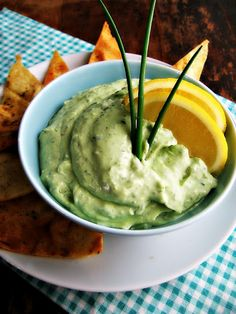 Creamy Kale & Avocado Dip--served with home made tortilla or pita chips this could be a snack with loads of indulgence but none of the guilt!