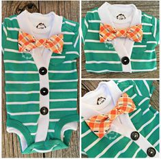 baby shower gift SALE-Baby Boy Cardigan Onesie ONLY-Green with White by IzzyandIsla