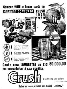 Propaganda do Refrigerante Crush, com grande concurso realizado nos anos 50