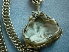 Chainmaille wire wrapped pendant. by EileensBeadedJewelry on Etsy, $48.00 #chainmaille #druzy #stonependant